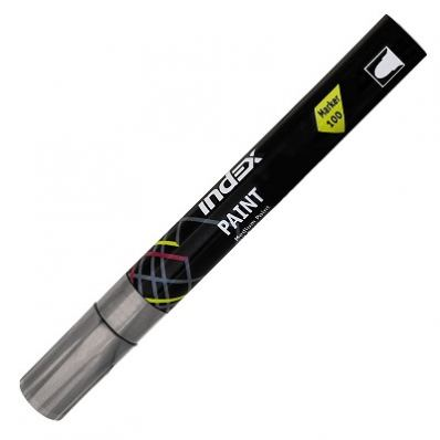 Маркер-краска лаковый пулевидный INDEX, 3 мм, серебряный
