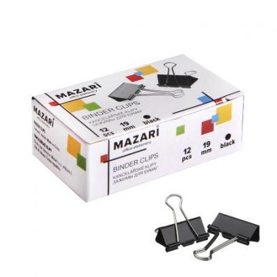 Зажимы для бумаг 19мм черные набор 12шт Mazari M-6895
