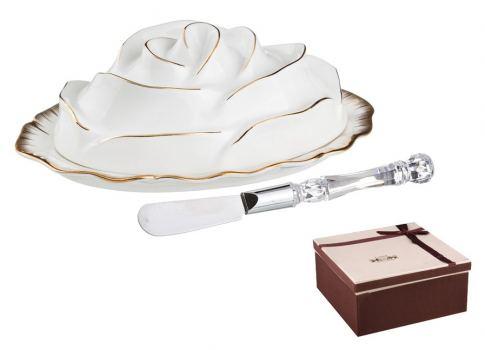 Масленка Цветочная симфония с ножом для масла Lefard 19*13 см