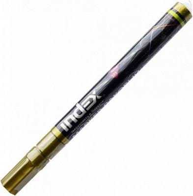 Маркер-краска лаковый пулевидный INDEX, 3 мм, золотой