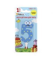 Свеча детская для торта цифр 5 PATERRA синий