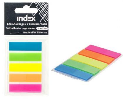 Блок-закладка с липким слоем, разм. 12х43 мм, пластиковые, 5 цветов по 25 листов
