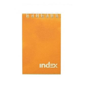 Блокнот INDEX на гребне клетка, А7, 40 листов, оранжевый