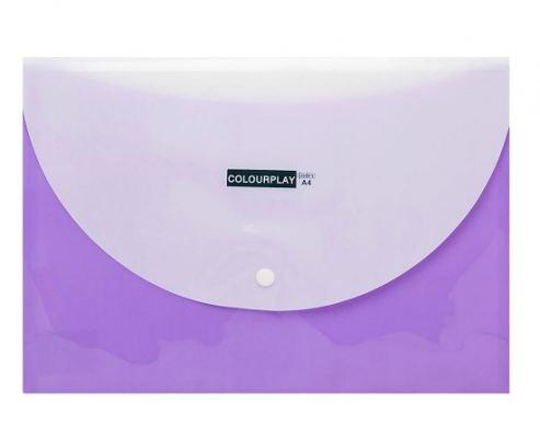 Папка-конверт, 2 отделения, горизонтальная, на кнопке, пластик, А4 INDEX, COLOURPLAY, сиреневый