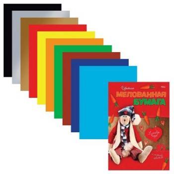 Цветная бумага А4, мелованная HATBER «Lovely Toys», 10 цветов, 195×280 мм