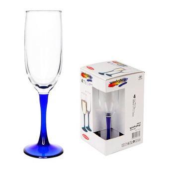 Набор бокалов для шампанского 4шт на синей ножке Pasabahce Imperial 155 мл
