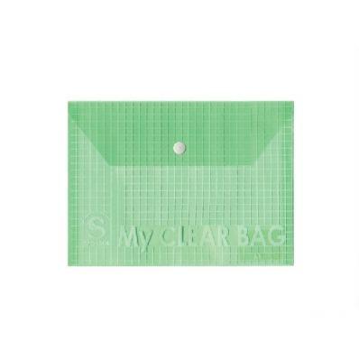 Папка-конверт горизонтальная, на кнопке, пластик, А5, ассорти цветов SPONSOR