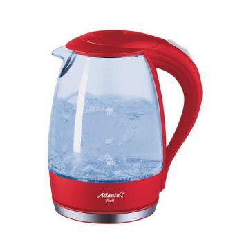 Чайник электрический, стеклянный Atlanta 1,7 л, красный