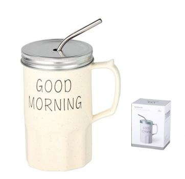 Кружка с крышкой фарфор Коралл Good morning 460 мл