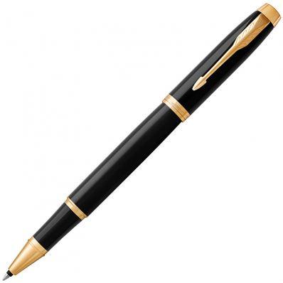 Роллер, 0,8 (F) мм, черный цвет чернил, глянцевый корпус латунь, PARKER, IM BLACK GT