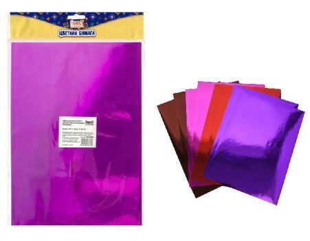 Набор самоклеящейся цветной металлизированной бумаги , A4, 4 цветов, 8 листов