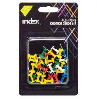 Кнопки силовые, гвоздик, цветные, пластик, INDEX, 30 шт