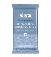 Салфетки влажные очищающие универсальные Diva 20 шт
