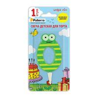 Свеча детская для торта цифр 0 PATERRA зеленая