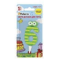 Свеча детская для торта цифр 6 PATERRA желто-зеленый