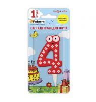 Свеча детская для торта цифр 4 PATERRA цвет красный