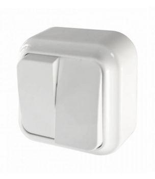 Выключатель накладной двухклавишный Bylectrica Пралеска белый