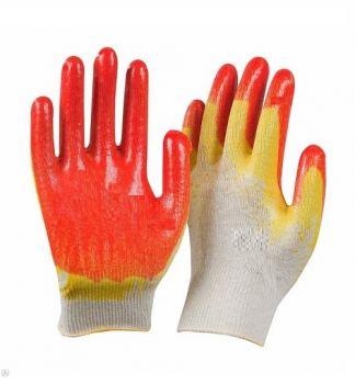 Перчатки х/б латекс покрытие, обливная ладонь красный