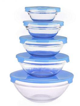 Набор салатников с крышками стекло Miolla 5 шт голубой