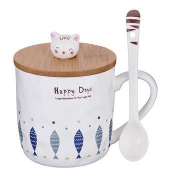 Кружка с ложкой и деревянной крышкой Lefard Happy Days
