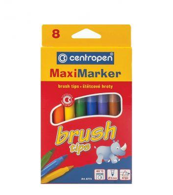 Набор фломастеров-кистей смываемые Centropen Brush, 8 цветов