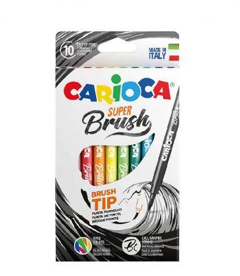 Набор фломастеров-кистей смываемые Carioca Super Brush, 10 цветов